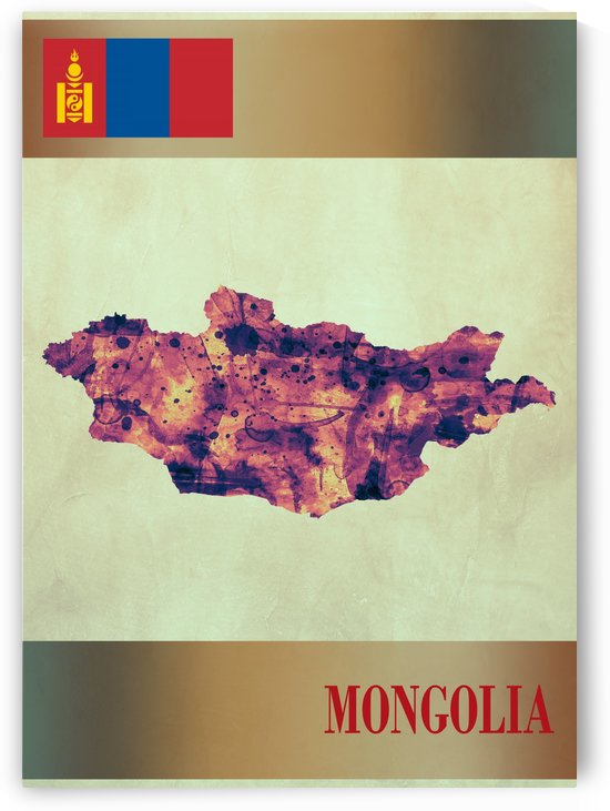 Mongolia Map with Flag by Towseef Dar