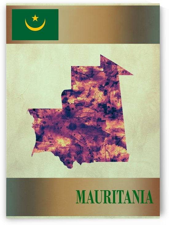 Mauritania Map with Flag by Towseef Dar