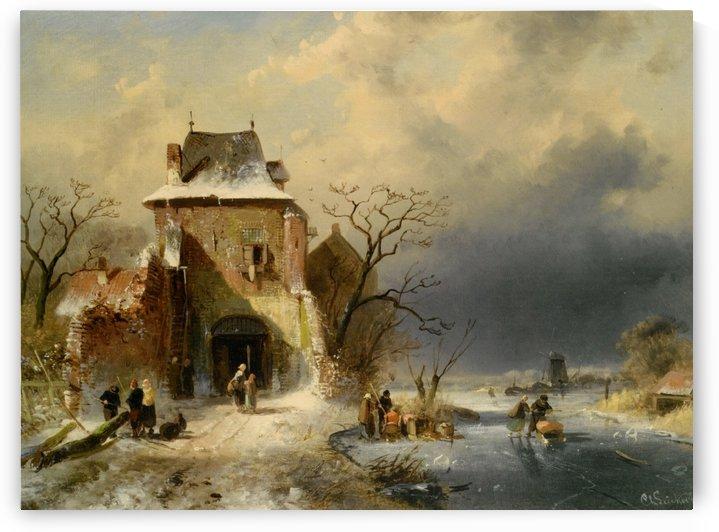 Winter Scene with Figures by Charles Henri Joseph Leickert