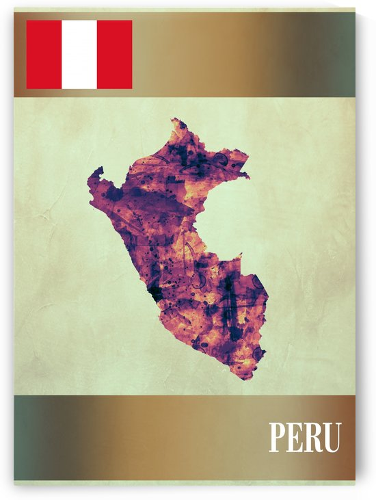 Peru Map with Flag by Towseef Dar