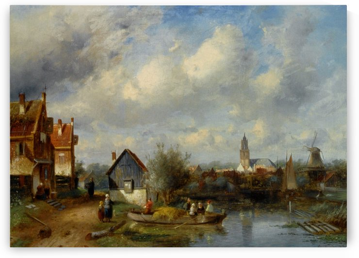 Figures on a Barge Near a Winterside Village by Charles Henri Joseph Leickert