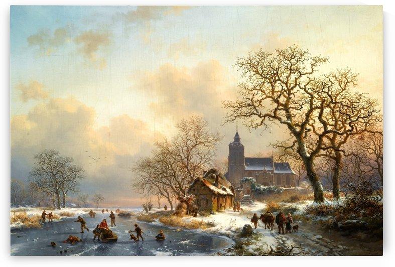 Dutch winter landscape with figures by Charles Henri Joseph Leickert