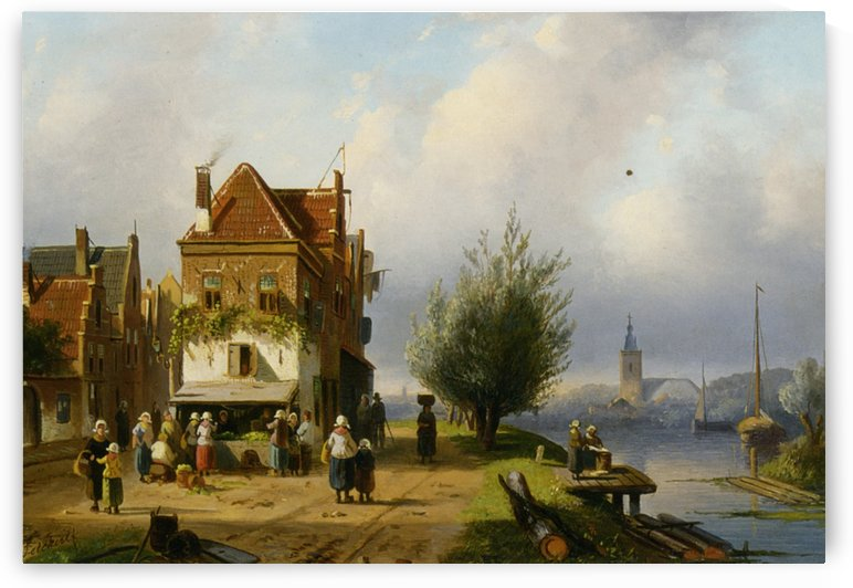 A Town View with Figures by a Market Street Stall by Charles Henri Joseph Leickert
