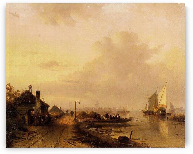 The Ferry by Charles Henri Joseph Leickert