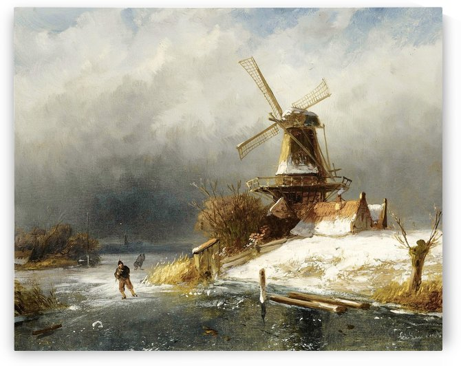 Winter landscape with skaters near a windmill by Charles Henri Joseph Leickert