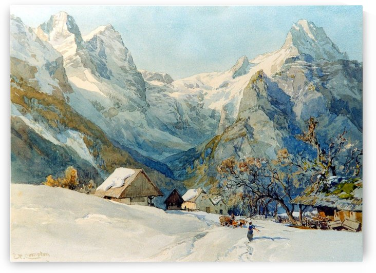 Winter landscape with figures by Charles Henri Joseph Leickert