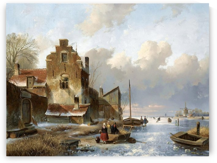 Figures on the ice unloading a sledge by Charles Henri Joseph Leickert