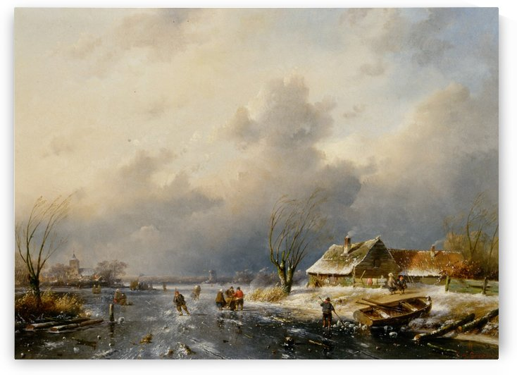 A Frozen Waterway with Skaters by a Cottage by Charles Henri Joseph Leickert