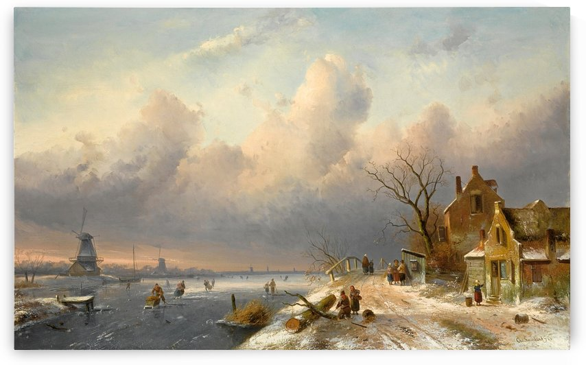 Winter landscape with figures and windmills by Charles Henri Joseph Leickert