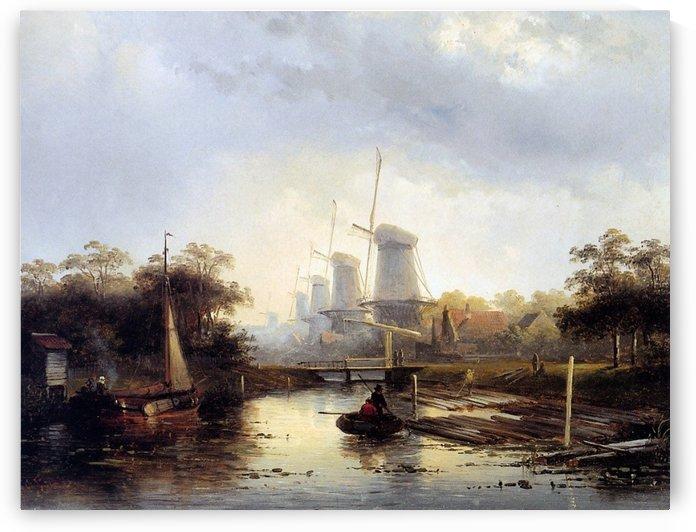 Summerlandscape with mills Sun by Charles Henri Joseph Leickert