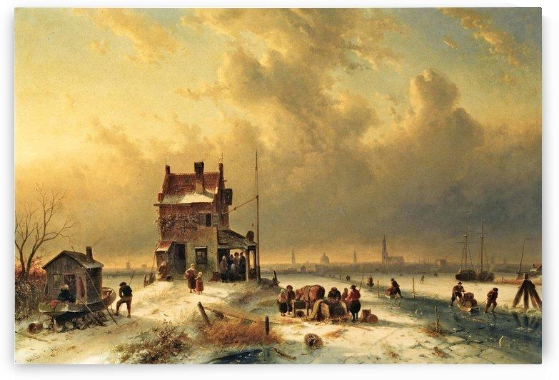 Townsfolk on ice by Charles Henri Joseph Leickert