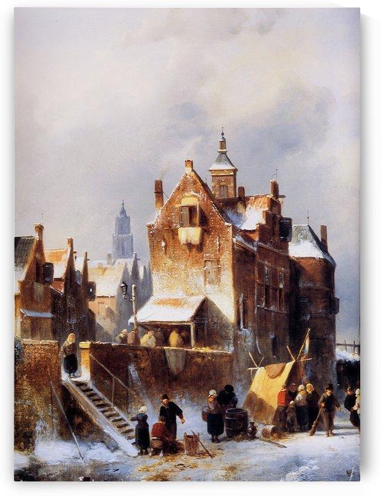 Winterlandscape with figures by Charles Henri Joseph Leickert