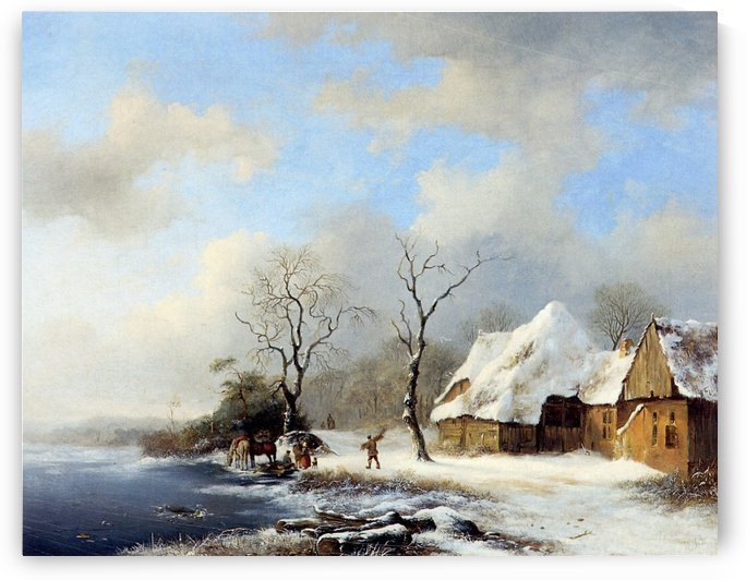 Winterlandscape Sun by Charles Henri Joseph Leickert