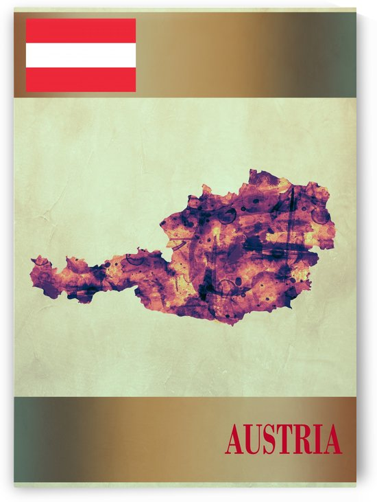 Austria Map with Flag by Towseef Dar