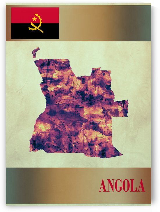 Angola Map with Flag by Towseef Dar