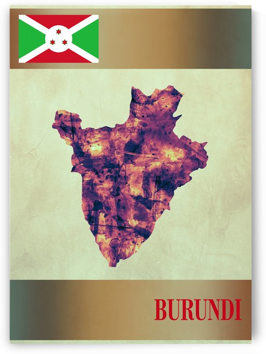 Burundi Map with Flag by Towseef Dar