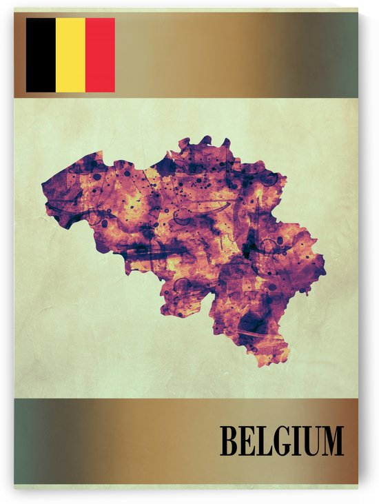 Belgium Map with Flag by Towseef Dar