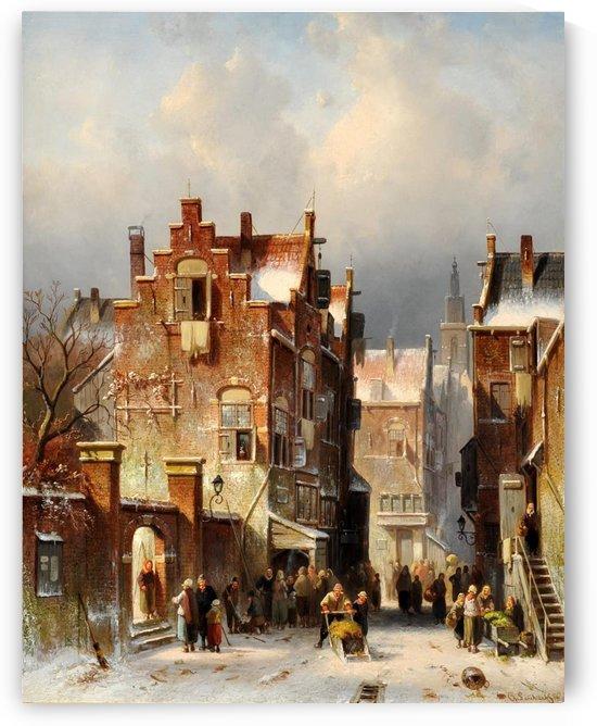 Townsfolk during winter by Charles Henri Joseph Leickert