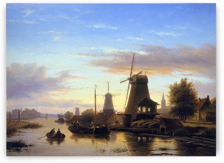 Mills at the Schie at dusk Sun by Charles Henri Joseph Leickert