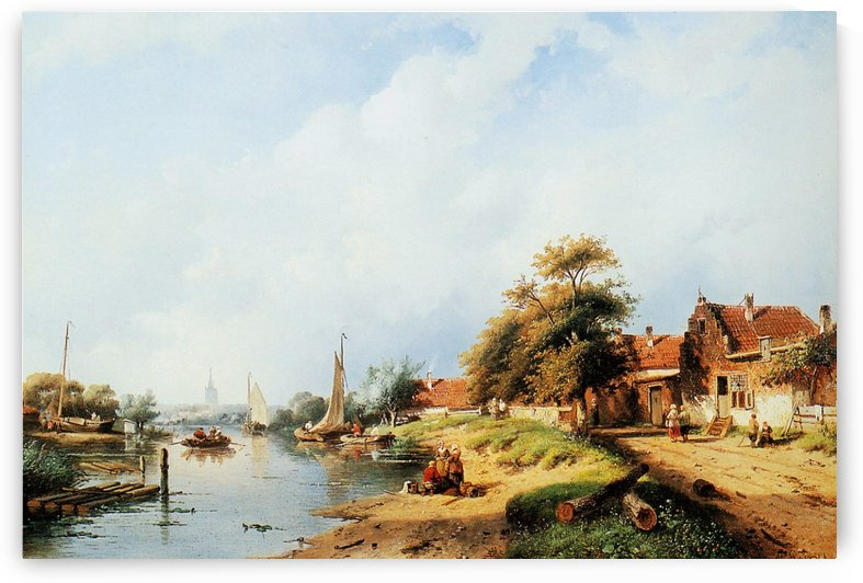 Summer river landscape by Charles Henri Joseph Leickert