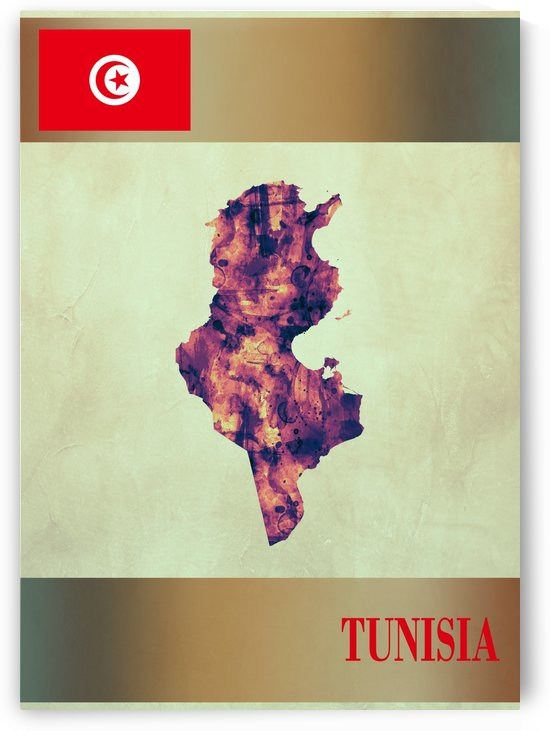 Tunisia Map with Flag by Towseef