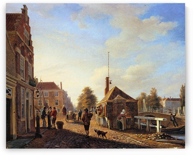 Het Spui in the Hague Sun by Charles Henri Joseph Leickert