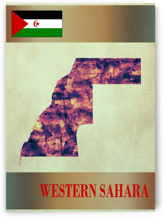 Western Sahara Map with Flag by Towseef