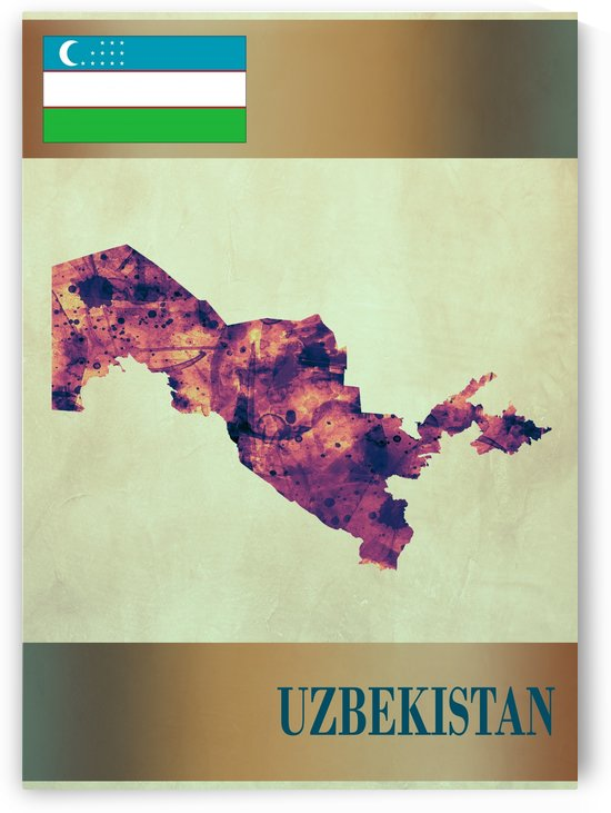 Uzbekistan Map with Flag by Towseef Dar
