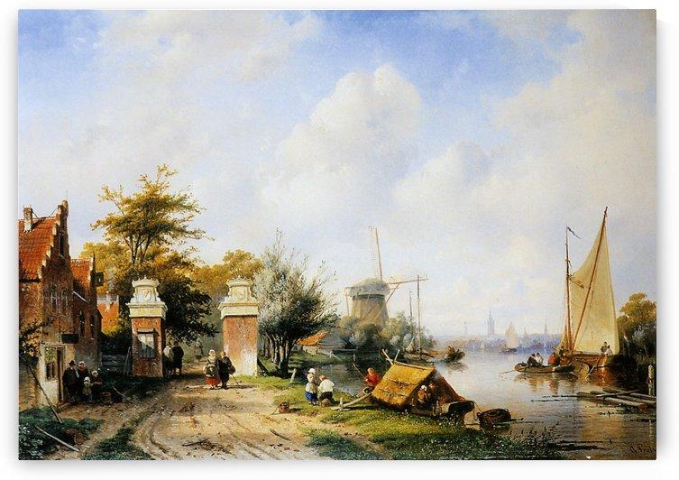 River scene with tollgate Sun by Charles Henri Joseph Leickert