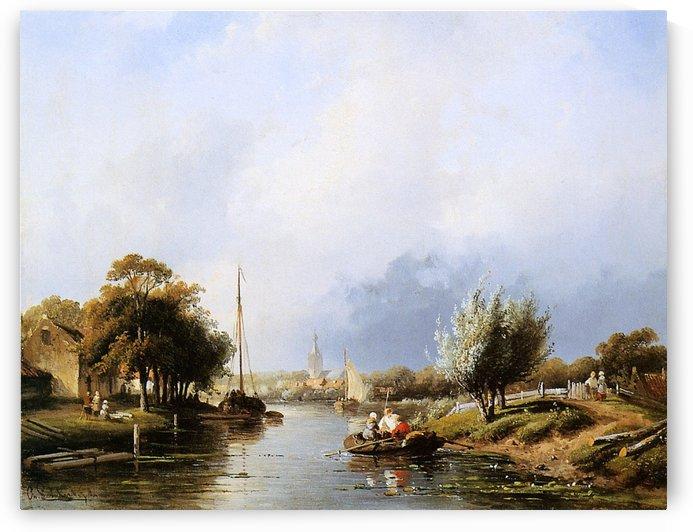 Summer river landscape Sun by Charles Henri Joseph Leickert
