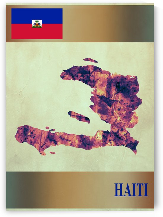 Haiti Map with Flag by Towseef Dar