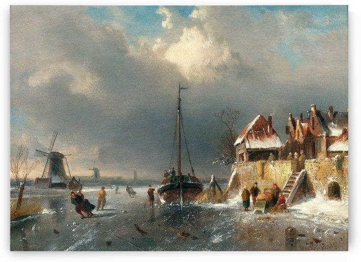 Dutch winter landscape by Charles Henri Joseph Leickert