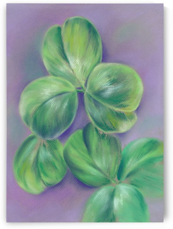 Green Clover on Purple by MM Anderson