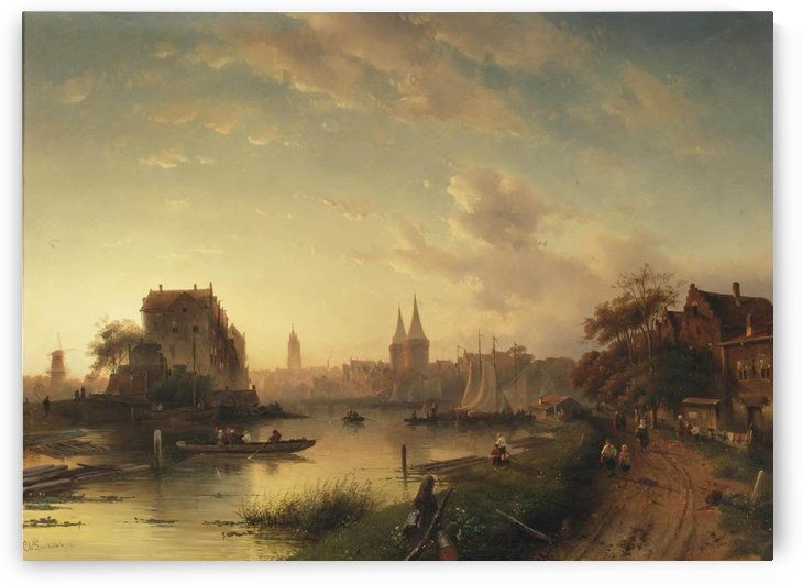Panoramic landscape by Charles Henri Joseph Leickert