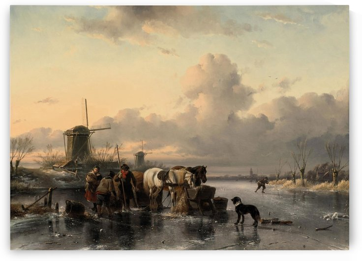 Tending to the horses on a frozen river by Charles Henri Joseph Leickert