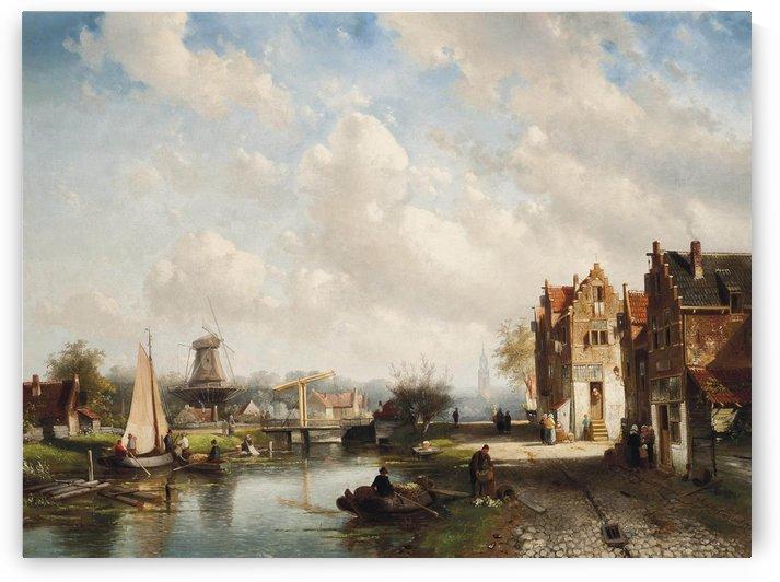 A Dutch town on the river, Summer by Charles Henri Joseph Leickert