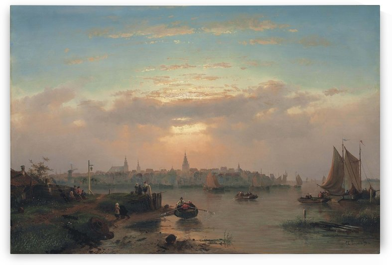 Evening on the Scheldt, Holland by Charles Henri Joseph Leickert
