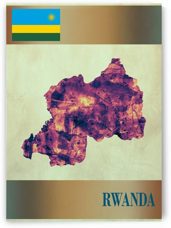 Rwanda Map with Flag by Towseef Dar