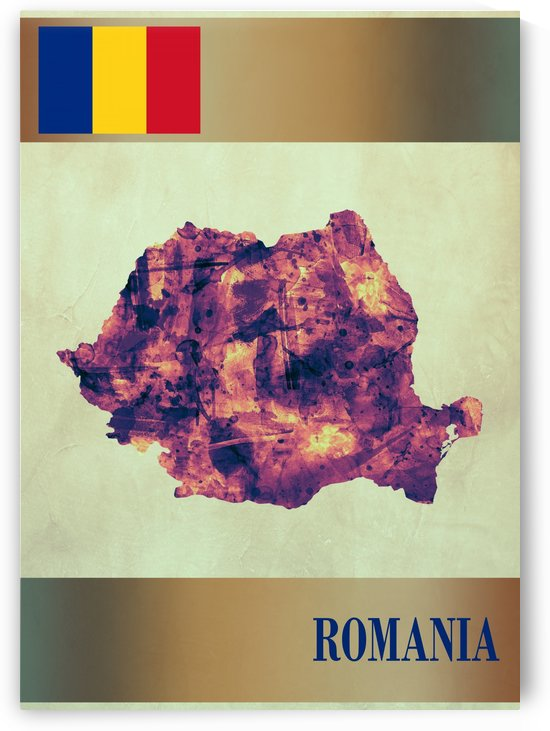 Romania Map with Flag by Towseef Dar