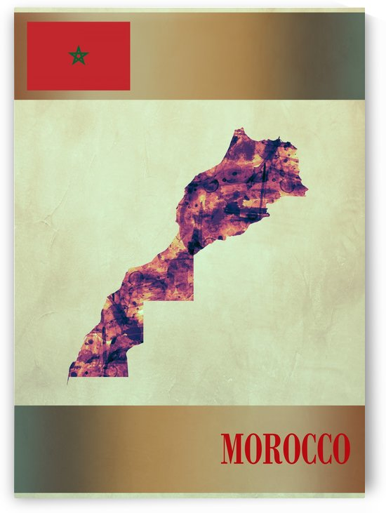 Morocco Map with Flag by Towseef Dar