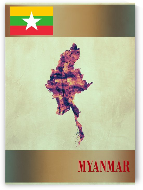 Myanmar Map with Flag by Towseef Dar