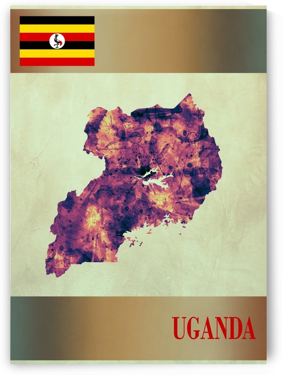 Uganda Map with Flag by Towseef Dar