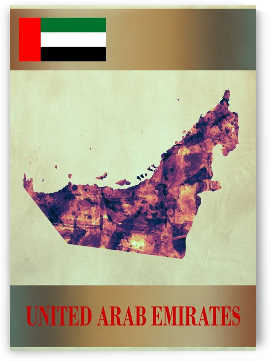 United Arab Emirates Map with Flag by Towseef Dar