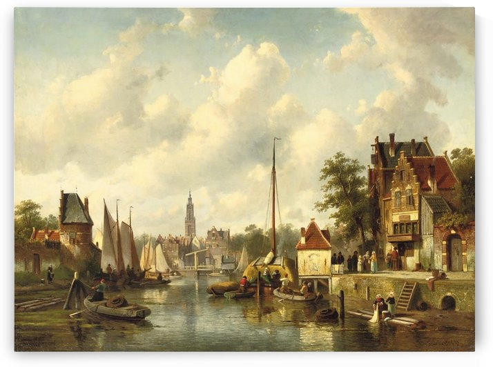 Activities on a busy canal in a sunlit Dutch town by Charles Henri Joseph Leickert