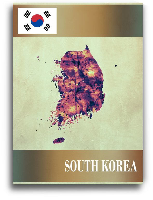 South Korea Map with Flag by Towseef Dar