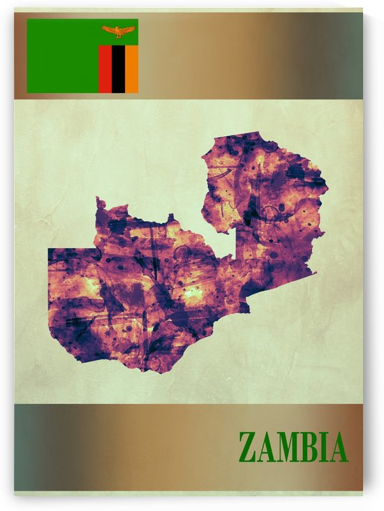 Zambia Map with Flag by Towseef Dar