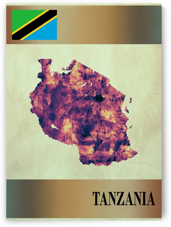Tanzania Map with Flag by Towseef Dar