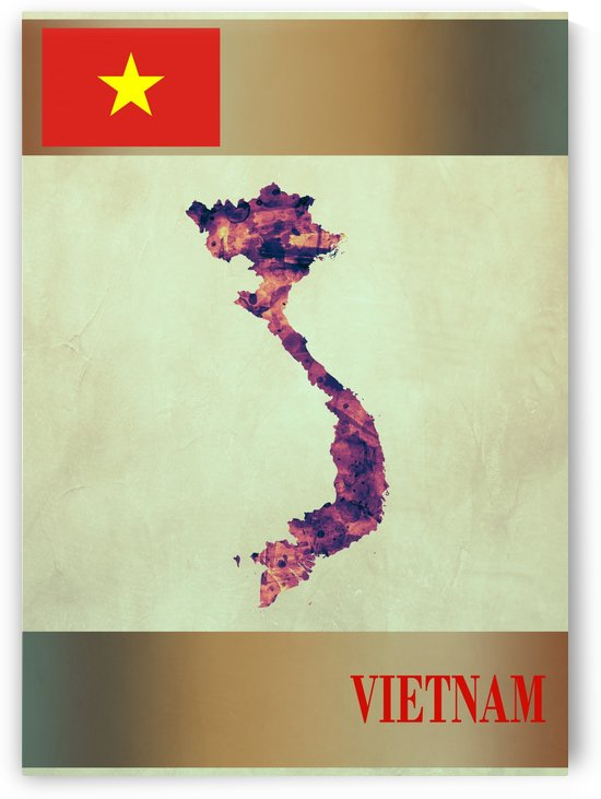 Vietnam Map with Flag by Towseef Dar