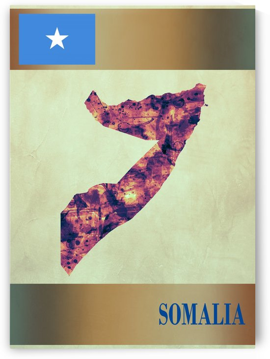 Somalia Map with Flag by Towseef Dar