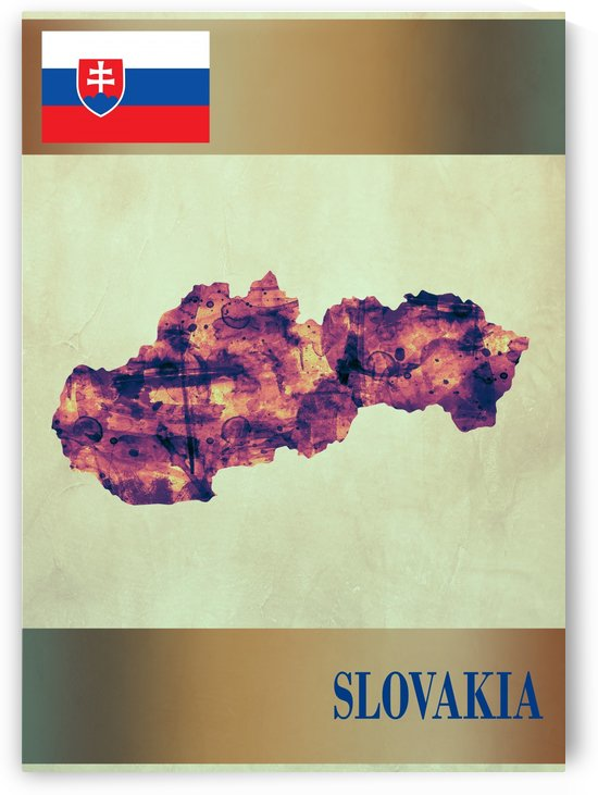 Slovakia Map with Flag by Towseef Dar